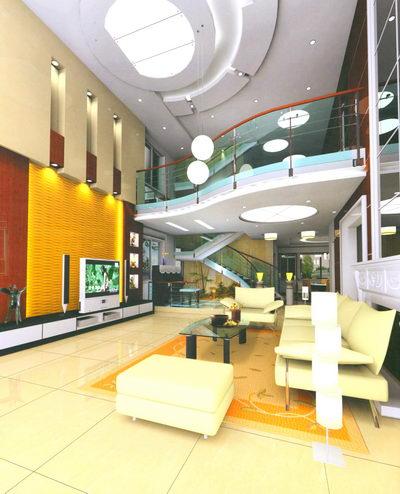 Sala De Escena Del Dise O Interior De Color Amarillo 3d
