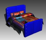 Azul cama modelo 3D de una alternativa de descarga