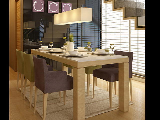 Modelo 3d ultra realista de las mesas y sillas modernas for Sillas salon modernas