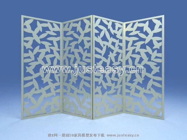 Pantalla de madera de la hoja de tipo modelo 3d for Modelos de mamparas de madera para sala
