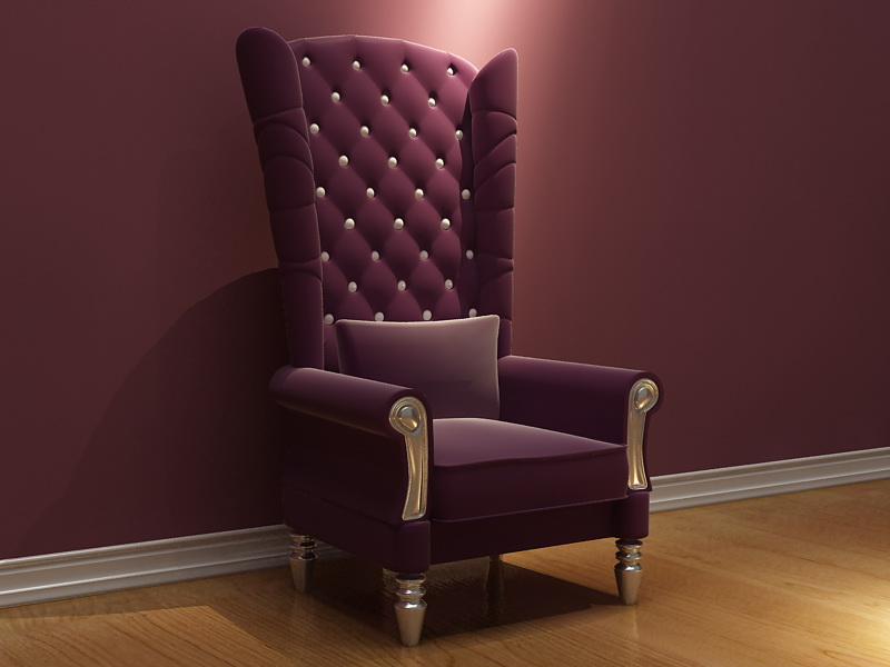 Pa o de silla de respaldo alto suave 3d modelo nico for Sofa respaldo alto