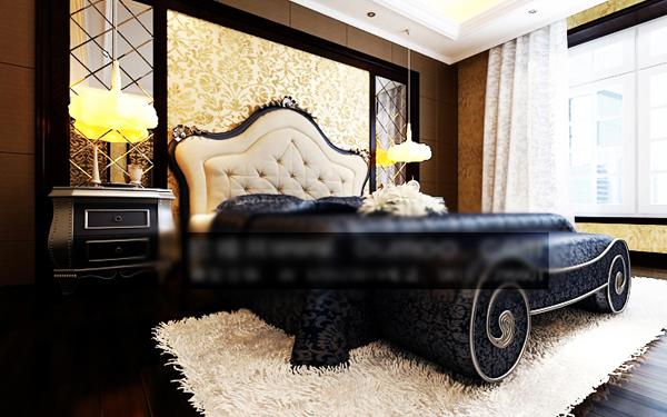 Modelo 3d de la cama moderna europea del mueble doble con for La europea muebles