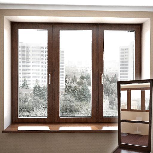 modelo refinado en 3d de ventanas de madera 3d model
