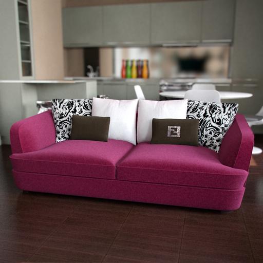 modelo 3d de un sof de color rosa c lido 3d model. Black Bedroom Furniture Sets. Home Design Ideas