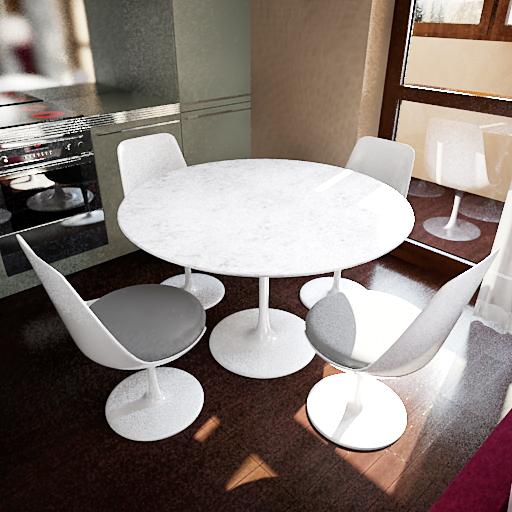 Modelo 3d de las mesas redondas blancas y sillas 3d model for Sillas de comedor blancas modernas