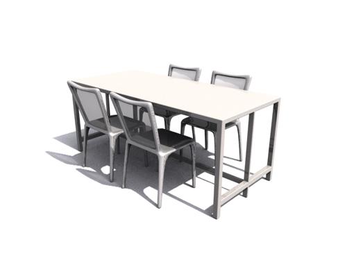 Compuesto de mesas de madera y sillas de comedor sencillo for Modelos de sillas y mesas para comedor