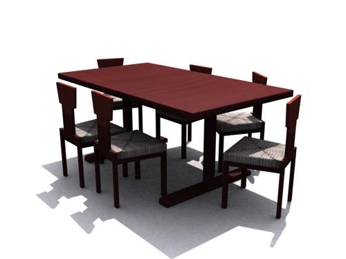Mesas de madera oscura y sillas de comedor Home 3D Modelo 3D Model ...