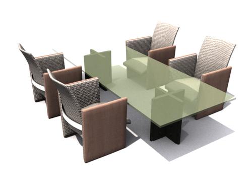Modelo 3d de mesas de cristal verde y sillas de comedor 3d for Modelos de mesas y sillas para comedor