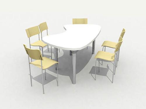 Modelo 3d de un c lido hogar mesas de comedor y sillas 3d for Modelos de sillas y mesas para comedor