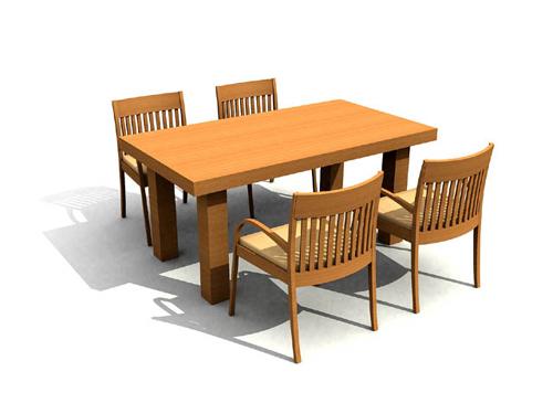 Modelos 3d de mesas de comedor de madera maciza cuadrada y for Modelos de sillas de madera de comedor