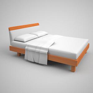 Simple modelo 3d de colchones simmons cama de madera 3d for Cama 3d autocad