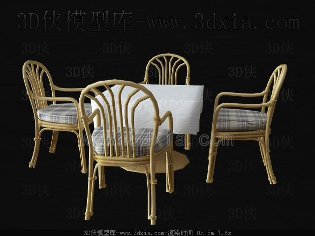 Sillas de mimbre y mesa de comedor 3d model download free for Sillas mimbre comedor