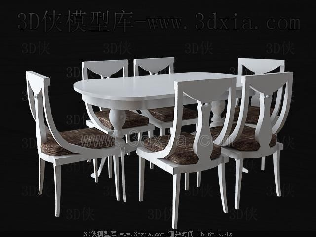 Blanco de mesa comedor y sillas de madera 3d model for Comedor blanco y madera