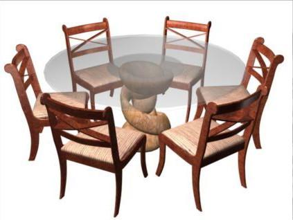 vidrio de mesa redonda y sillas de comedor 3d model