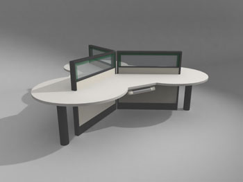 Modelo de las tablas de la oficina moderna 3d model for Muebles oficina 3ds max