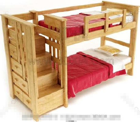 Los ni os de la madera roja cama doble 3d model download - Cama doble para ninos ...