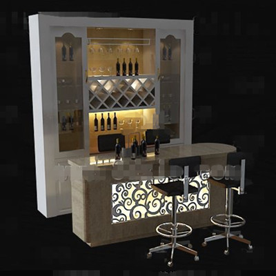 Blanca Con El Gabinete Del Vino Contra 3d Model Download