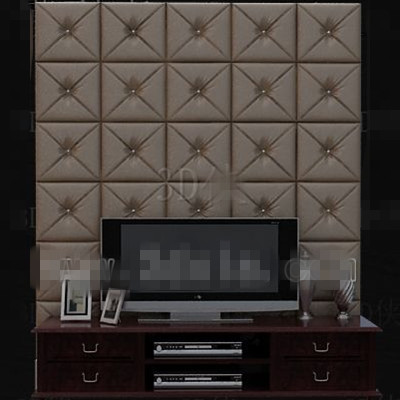 Moderna cuero marr¨®n pared de la TV