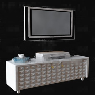Blanco patr¨®n simple diamante Mueble de televisi¨®n