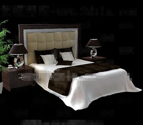 Marr n moderna cama doble madera 3d model download free for Cama 3d max