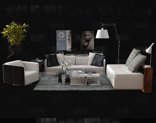 Moda sencilla combinada sof blanco 3d model download for Muebles oficina 3ds max