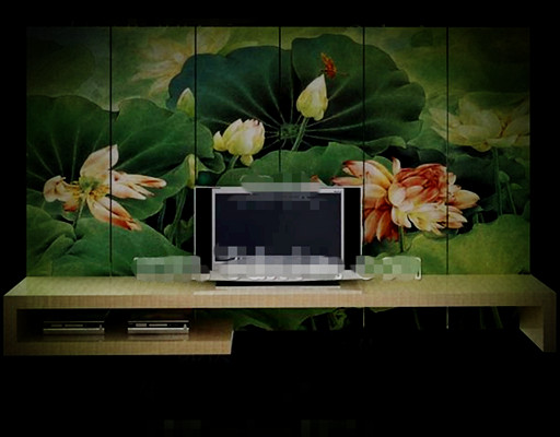 Estilo chino Lotus Pond pantalla de TV muro