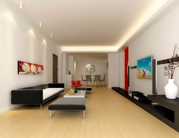 Gran espacio vida larga y estrecha sal n 3d model for Sala de estar larga