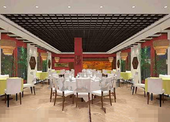 Chino estilo de decoraci n amplio restaurante 3d model for Restaurante chino jardin