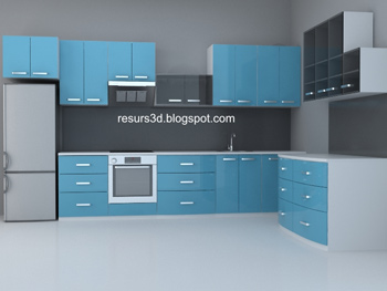 Muebles modernos del hogar azules 3d model download free for Muebles 3d gratis