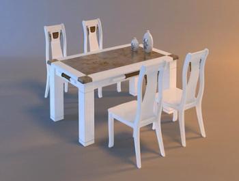 Blancas de madera mesas de cocina y sillas de comedor 3d for Mesas de cocina blancas y madera
