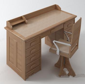 Modelo de escritorio de madera maciza 3d model download - Modelos de escritorios de madera ...