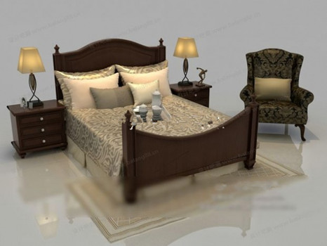 modelo de cama de madera chino del viento 3d model. Black Bedroom Furniture Sets. Home Design Ideas