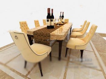 Mesas de comedor y sillas de lujo modelos 3d 3d model for Modelos de mesas y sillas para comedor