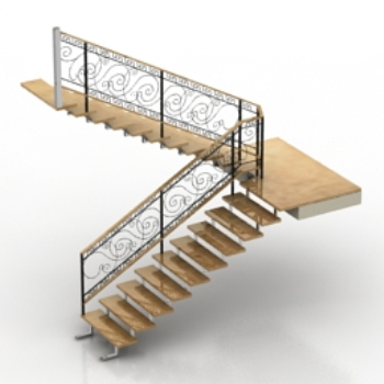 Modelo de escalera com n 3d model download free 3d models for Escaleras 3d max