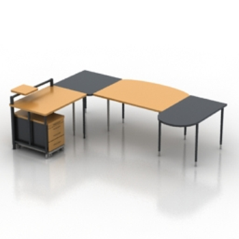 Modelo de escritorio de oficina 3d model download free 3d for Muebles de oficina 3d max
