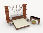 Inicio Simple cama doble de madera 3d modelo