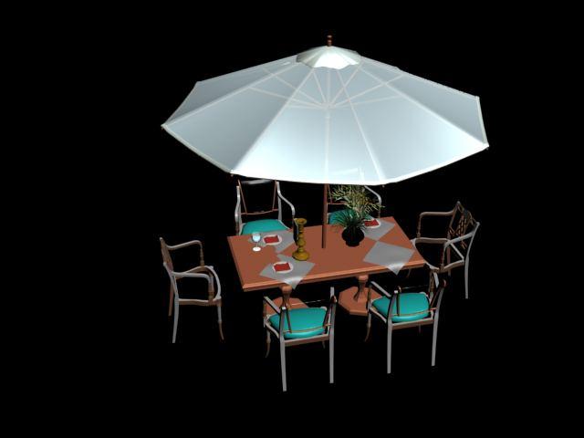 Mesas y sombrillas de cartera 3d model download free 3d for Habitaciones 3d max gratis
